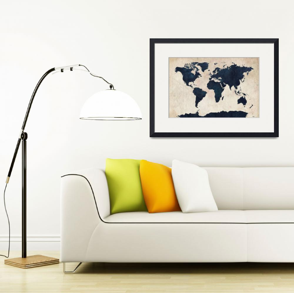 """World Map Distressed Navy&quot  (2011) by ModernArtPrints"