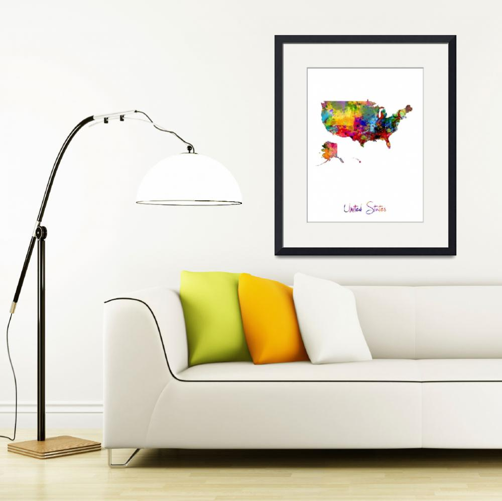 """United States Watercolor Map&quot  (2016) by ModernArtPrints"