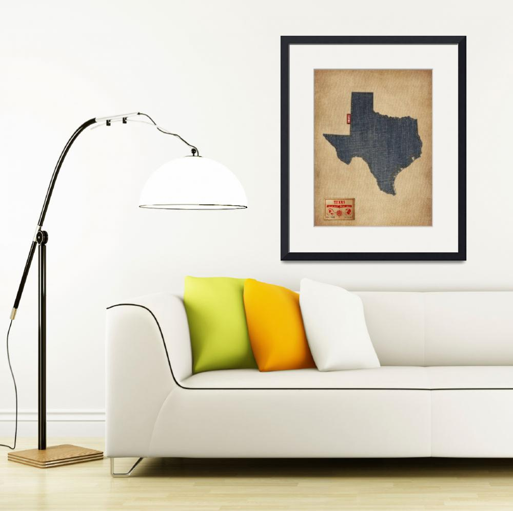 """Texas Map Denim Jeans Style&quot  (2014) by ModernArtPrints"