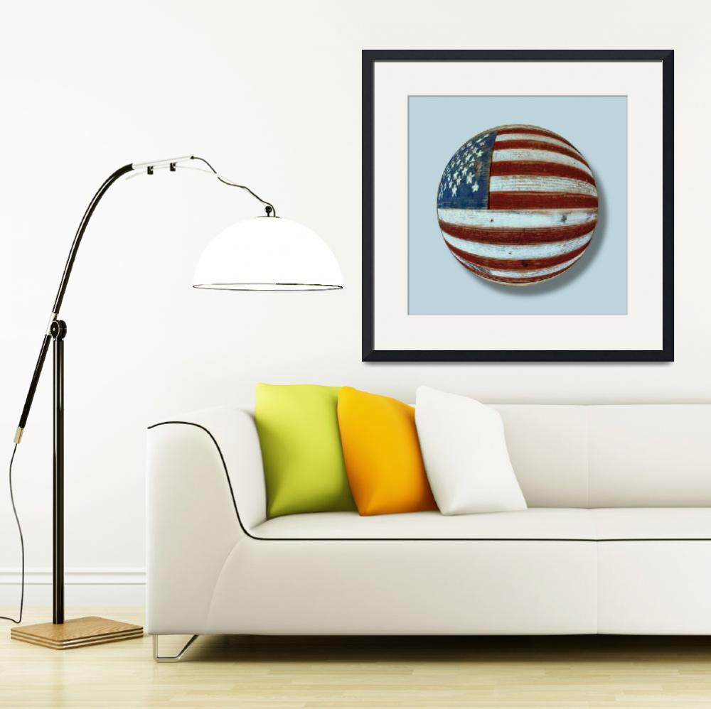 """American Flag Wood Orb&quot  (2013) by RubinoFineArt"
