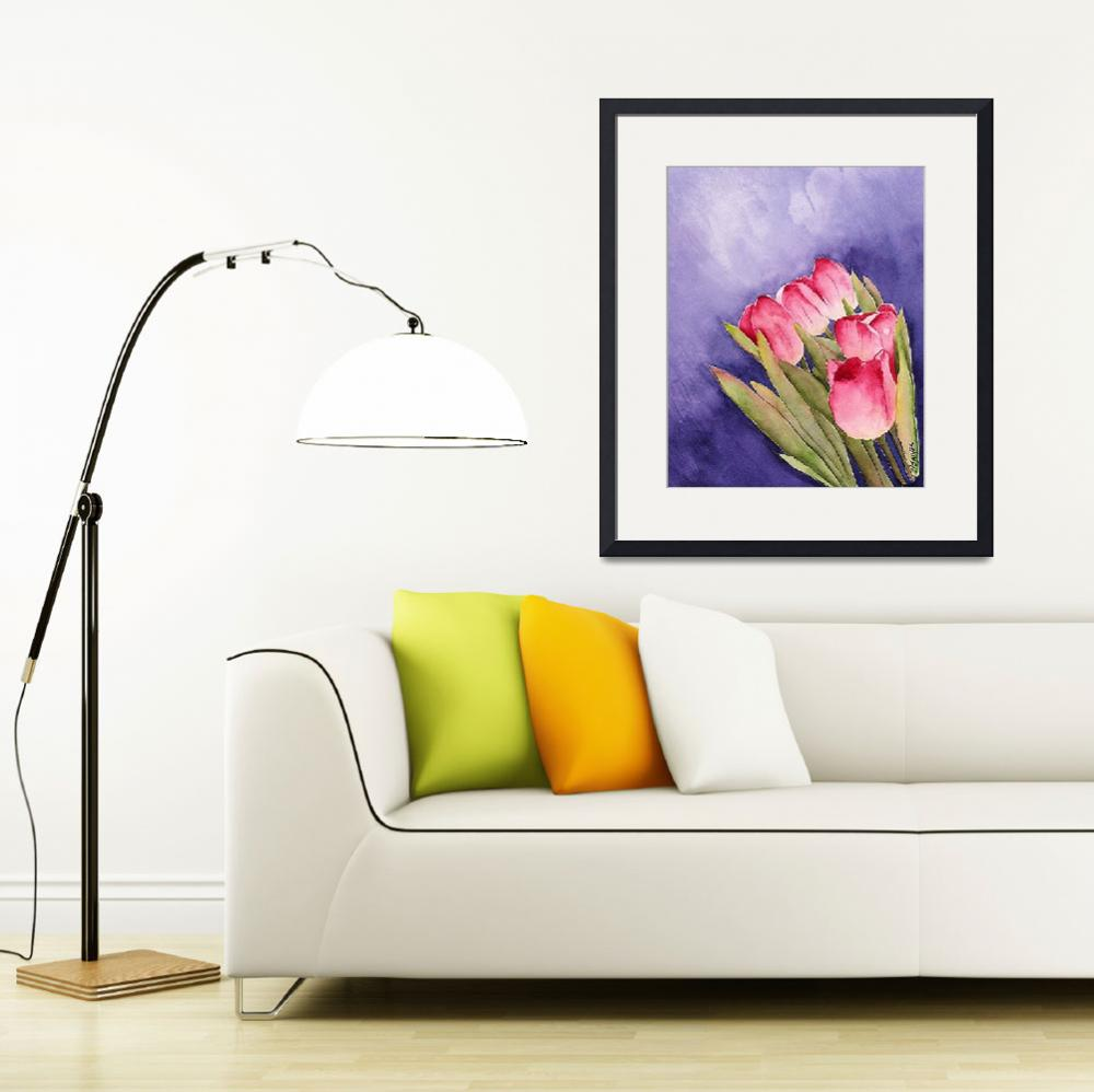 """Tulips in the Wind Watercolor&quot  by marygaines"