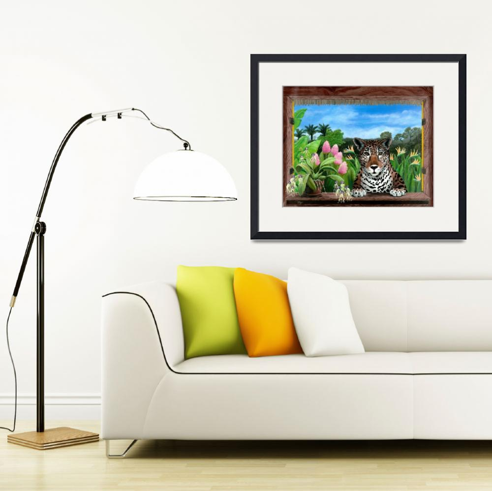 """Jaguar and Orchids - Tropical Wildlife Floral&quot  by savanna"