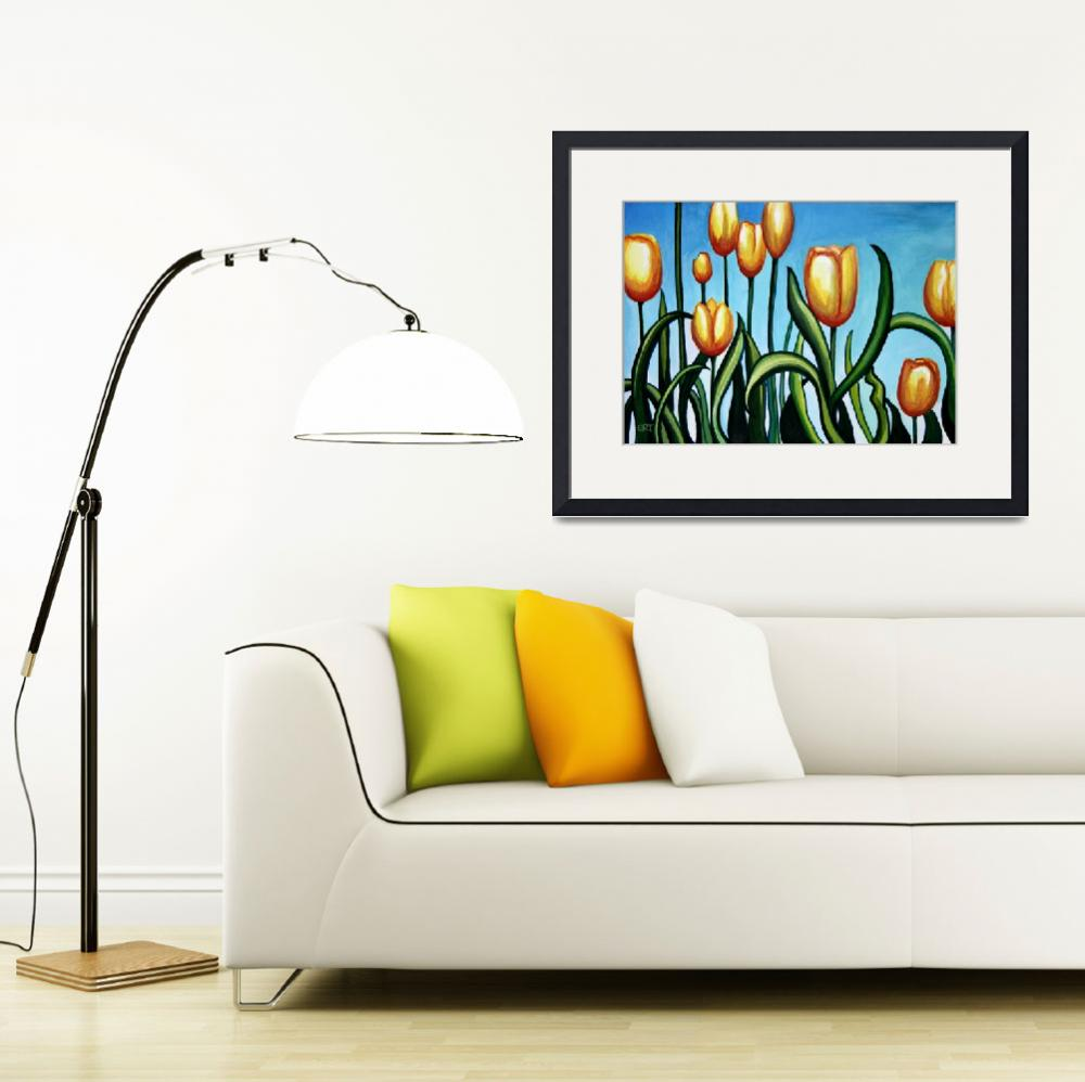 """Sunny Yellow Tulips&quot  (2011) by ElizaArt"