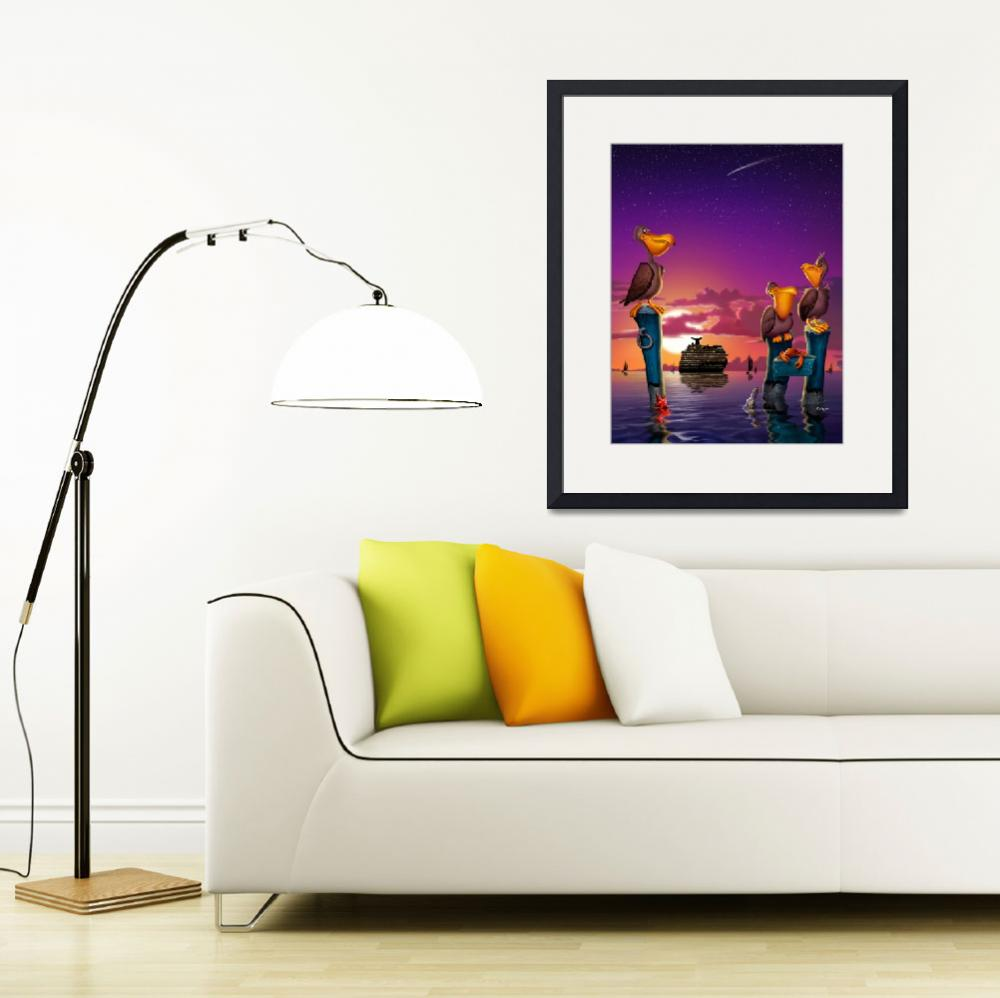 """Pelican Cruise Ship Sunset Bird Tropical Seascape&quot  (2015) by walt-curlee"