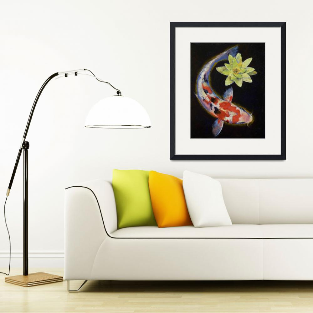 """Koi with Yellow Water Lily&quot  by creese"