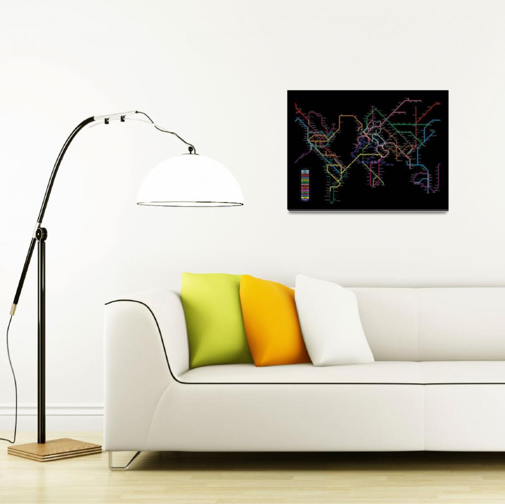 """World Metro Map&quot  (2010) by ModernArtPrints"