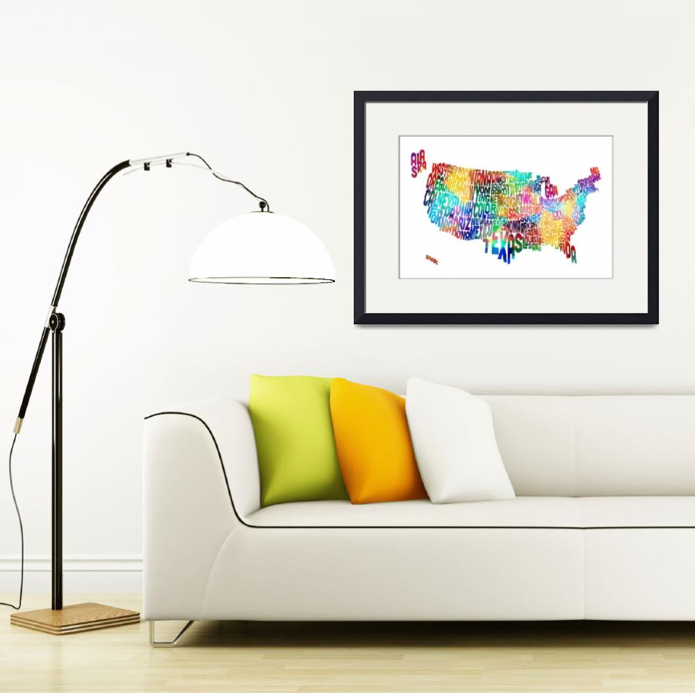 """United States Typography Text Map&quot  (2013) by ModernArtPrints"