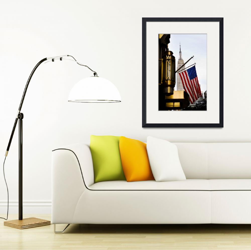 """Empire State and the US Flag, New York&quot  (2007) by SanjayNayar"