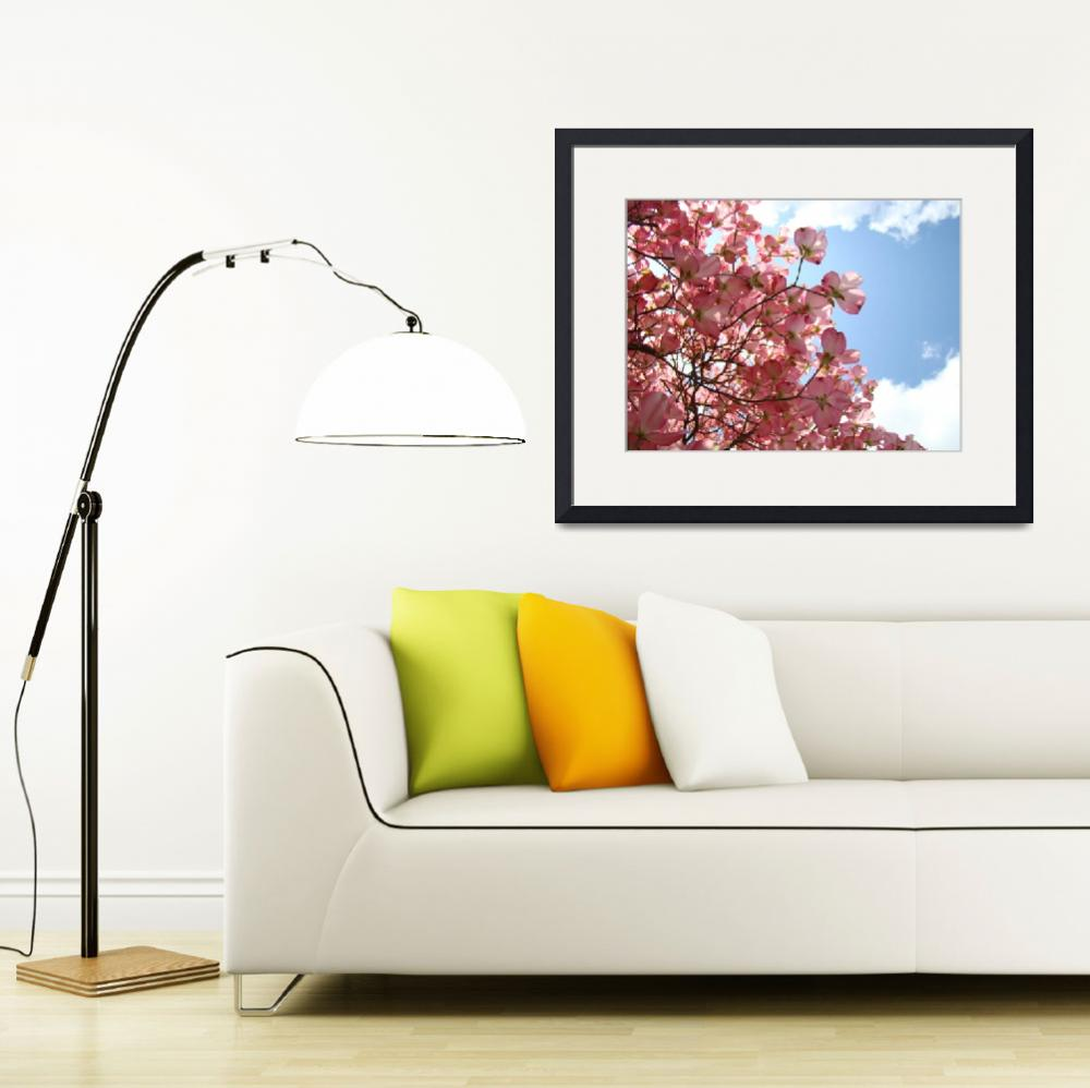 """OFFICE ART Landscape Trees Pink Dogwood Flowers&quot  (2009) by BasleeTroutman"