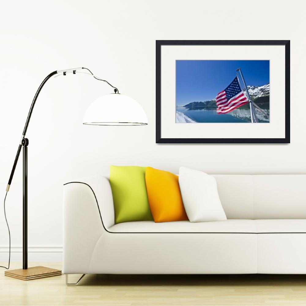 """View of Prince Wiliam Sound and the American Flag&quot  by DesignPics"
