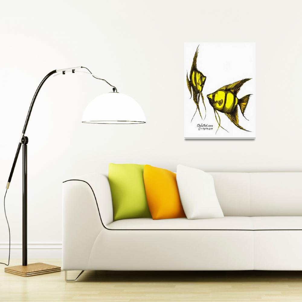 """AngelFish-yellow-orange&quot  (1991) by OgleWarfield"