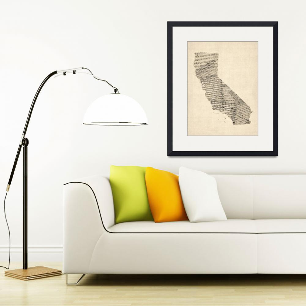 """Old Sheet Music Map of California&quot  by ModernArtPrints"