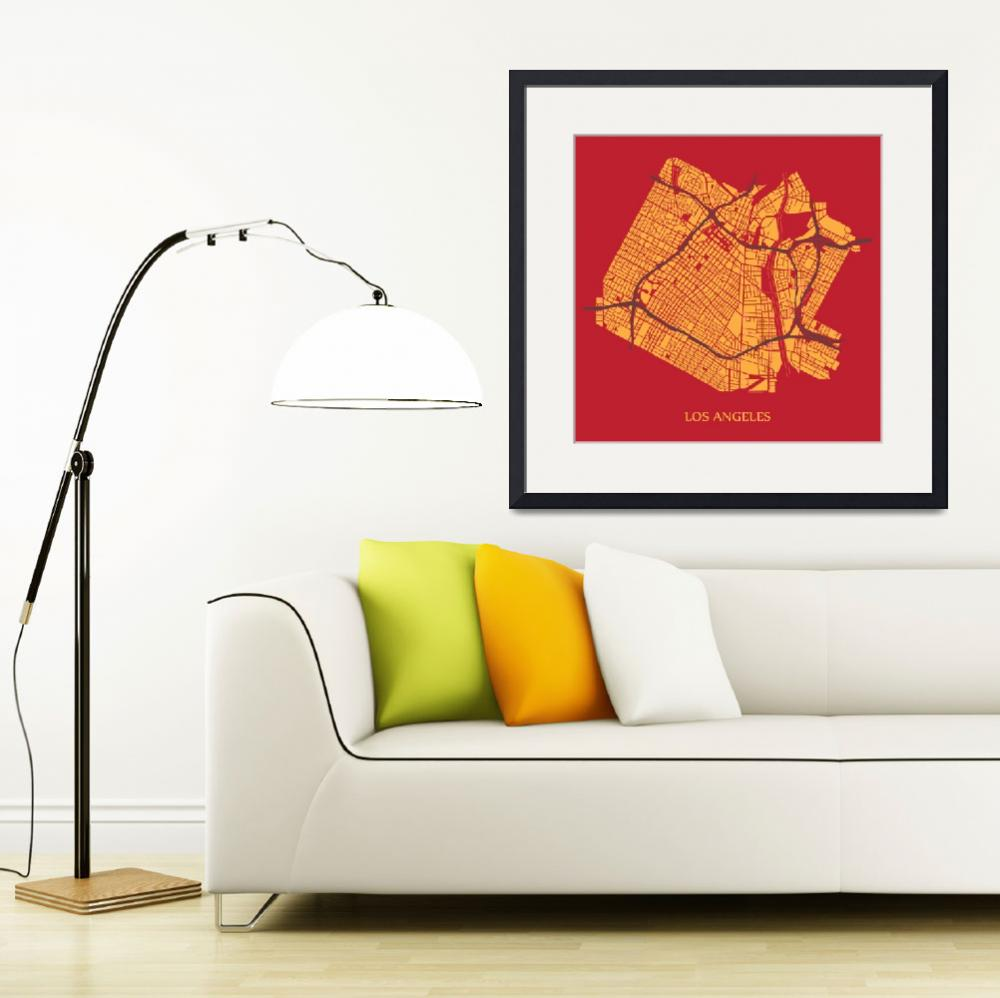 """Los Angeles - Gold on Red with Title&quot  (2013) by geosthetics"