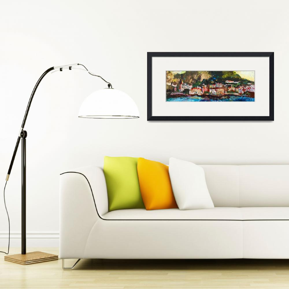 """Abstract Panoramic Amalfi Coast Italy Painting&quot  (2012) by GinetteCallaway"