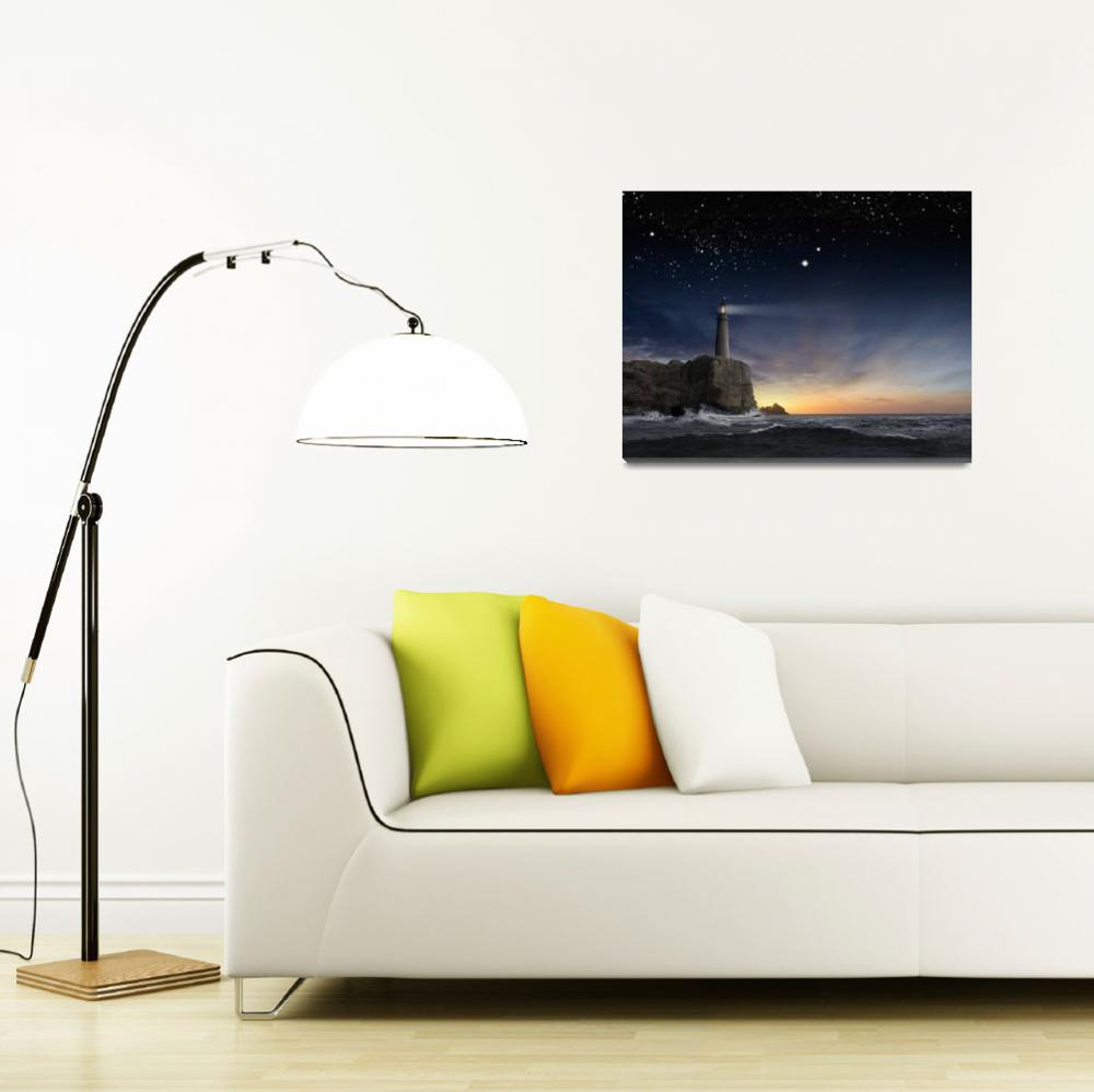 """Lighthouse-Under-Stars&quot  (2015) by johnlund"