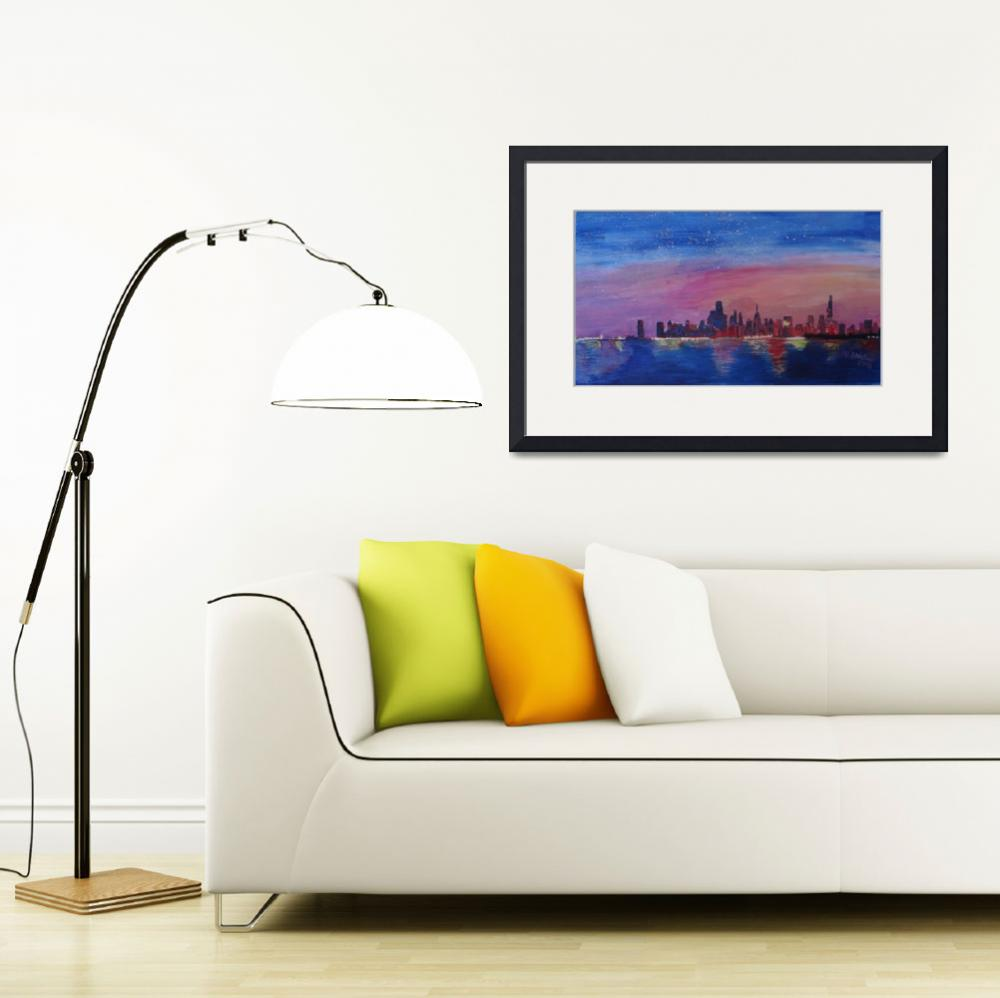 """Chicago Skyline at Daybreak&quot  (2013) by arthop77"