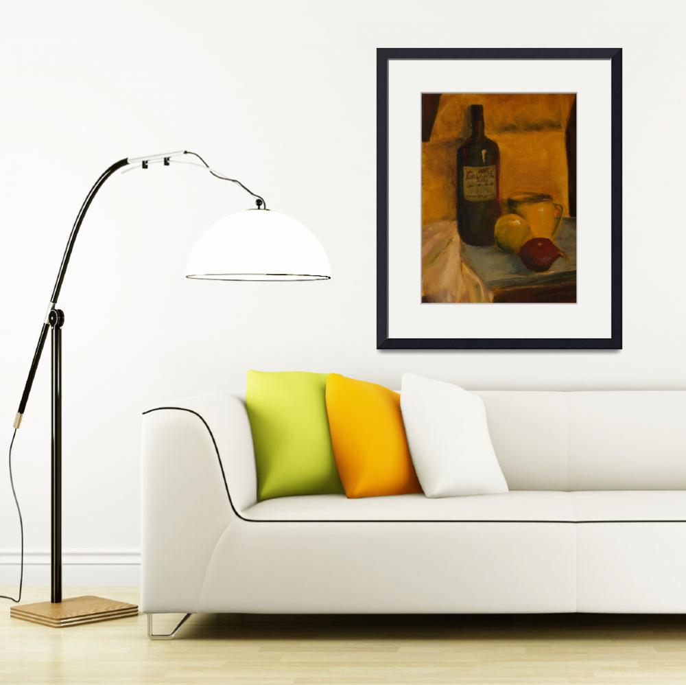 """SL - Still Life with Wine Bottle and Fruit&quot  (2008) by PaulGalante"