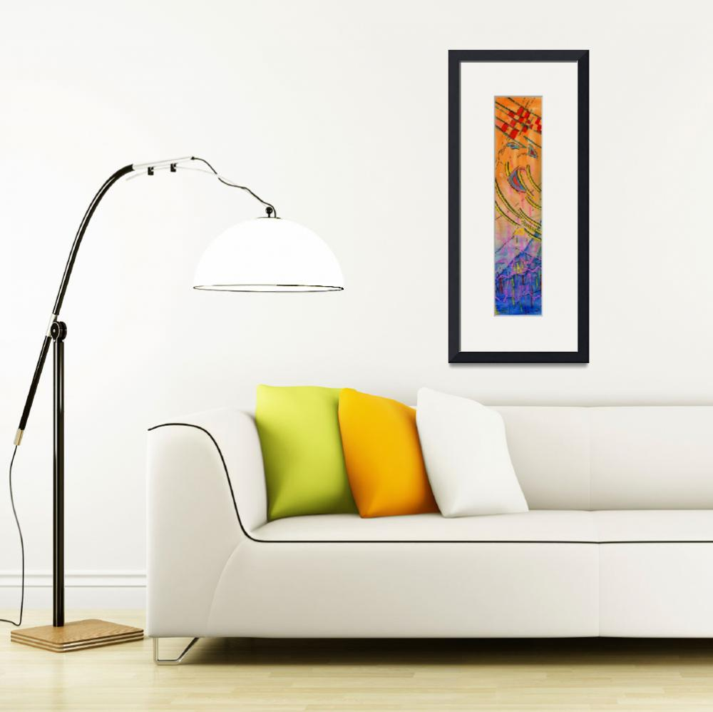 """Long Watercolor Abstract&quot  by Lenora"