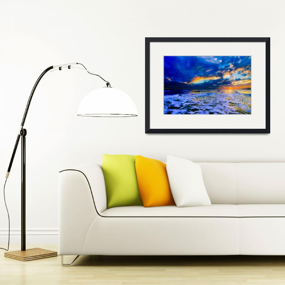 """Blue Beach Sunset Dark and Stormy Sea Art Prints&quot  (2014) by eszra"