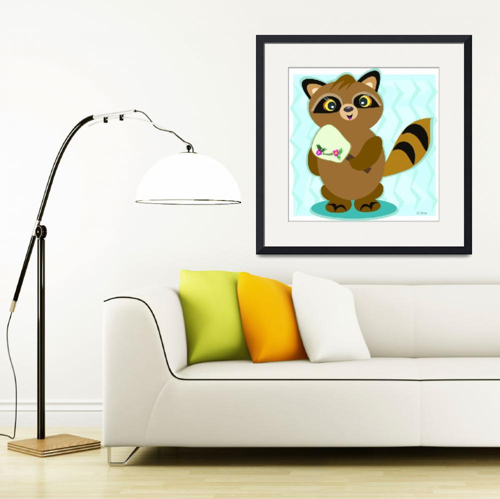 """Raccoon with a Fan&quot  (2010) by theblueplanet"