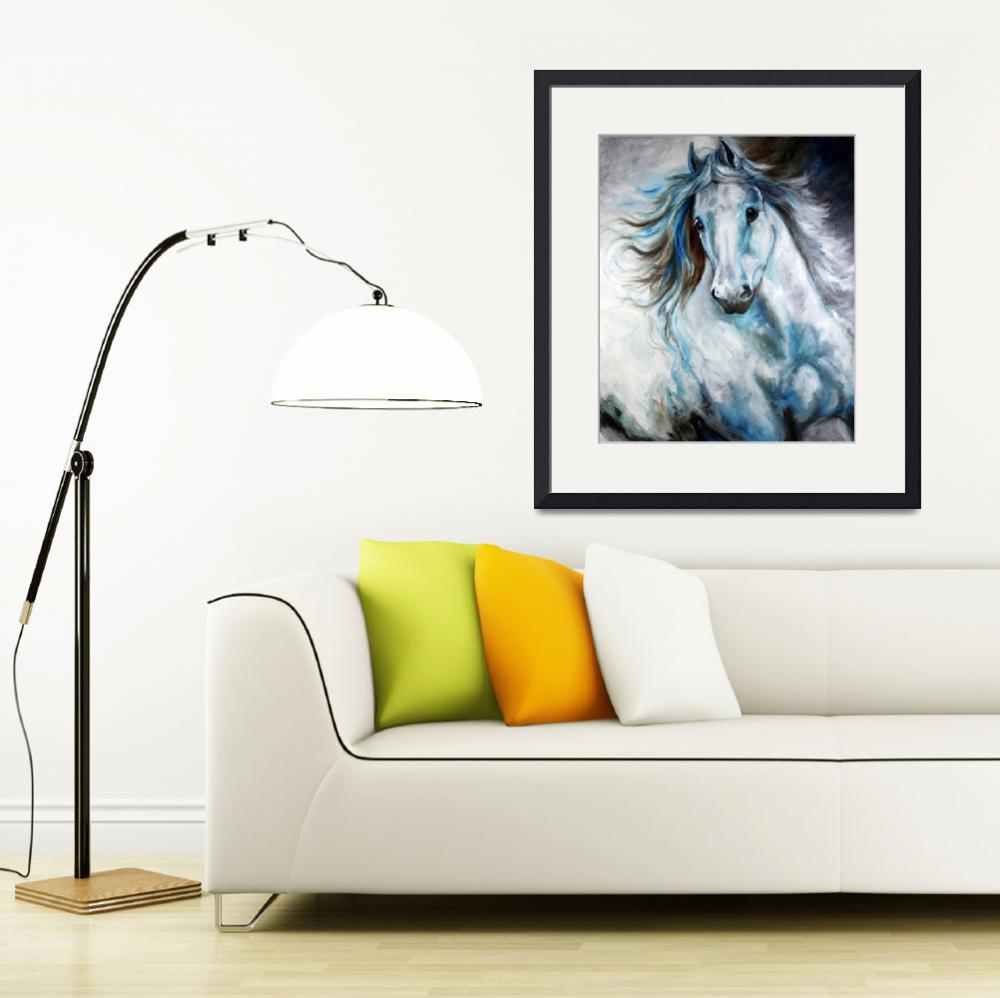 """WHITE THUNDER ARABIAN EQUINE ABSTRACT&quot  (2010) by MBaldwinFineArt2006"
