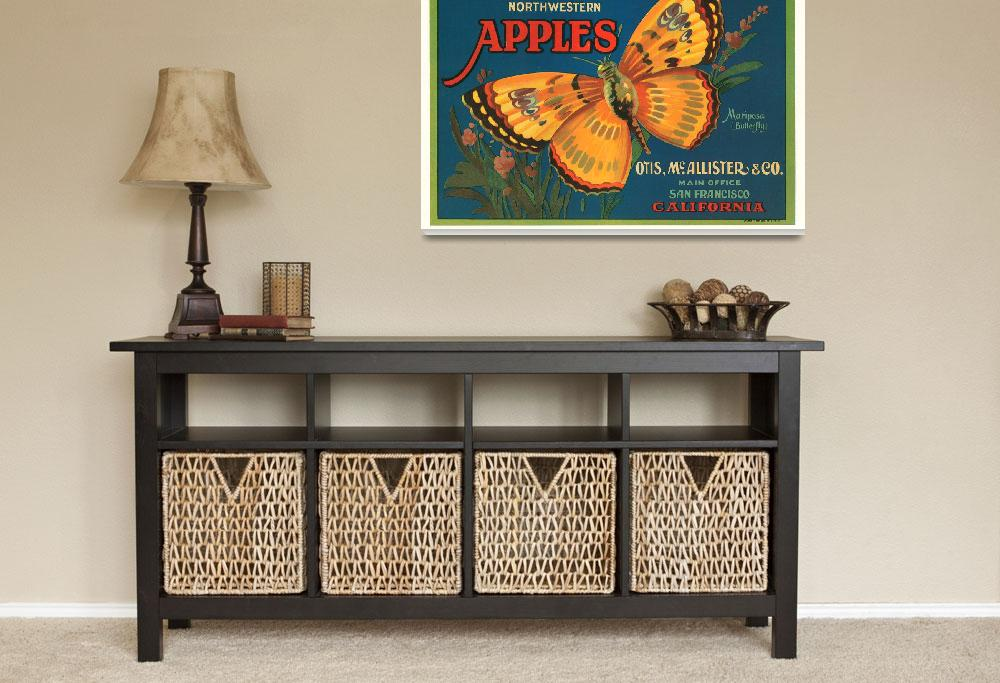 """Mariposa Apples Butterfly Fruit Crate Label&quot  by lifeoverhere"