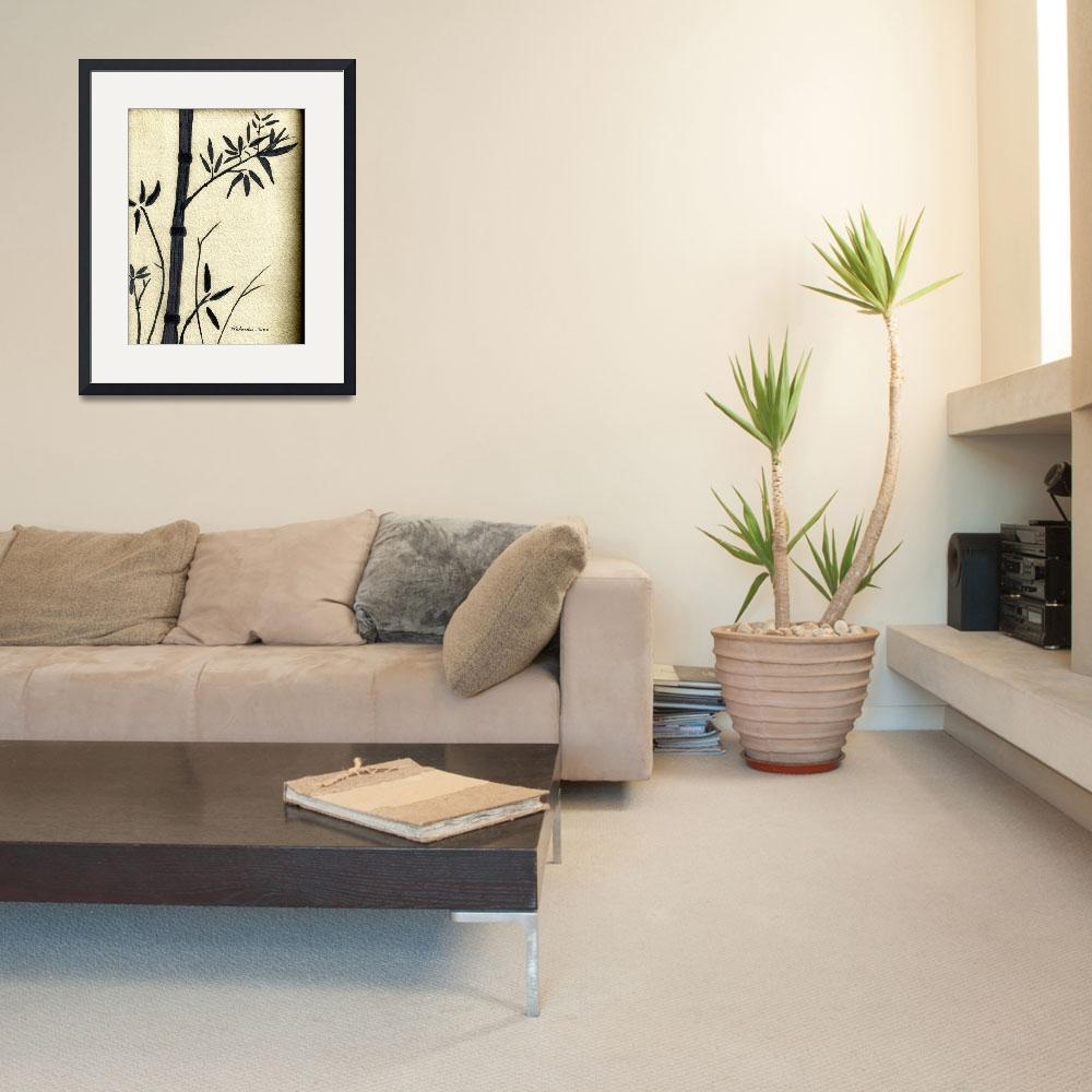 """Zen Sumi Antique Bamboo 1a Black Ink on Watercolor&quot  (2011) by Ricardos"