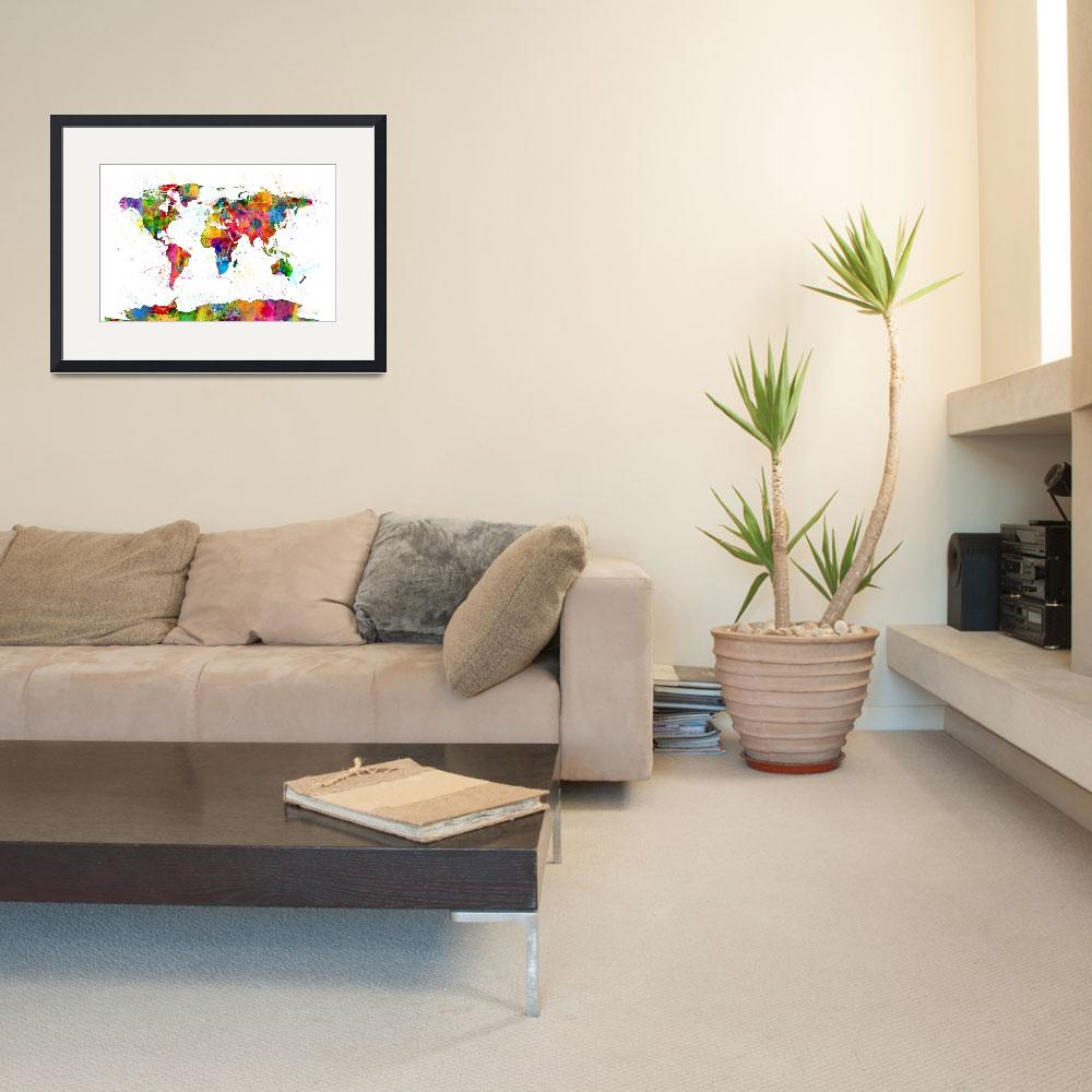 """Map of the World Map Watercolor&quot  (2014) by ModernArtPrints"