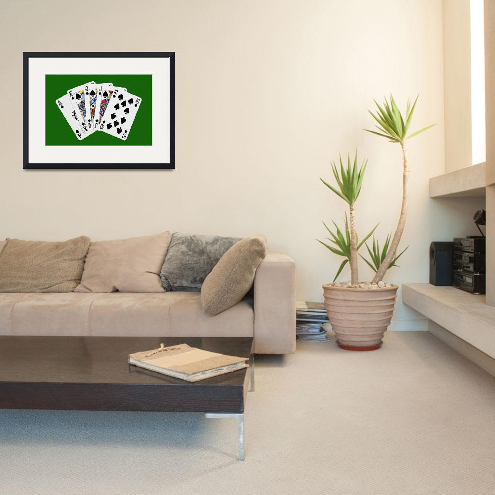 """Playing Cards Royal Flush on Green Background&quot  (2012) by NatalieKinnear"