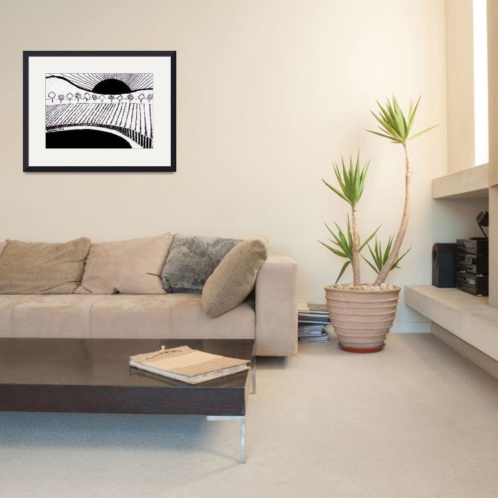 """Zen Sumi Rising Sun Black Ink on White Canvas by R&quot  (2011) by Ricardos"