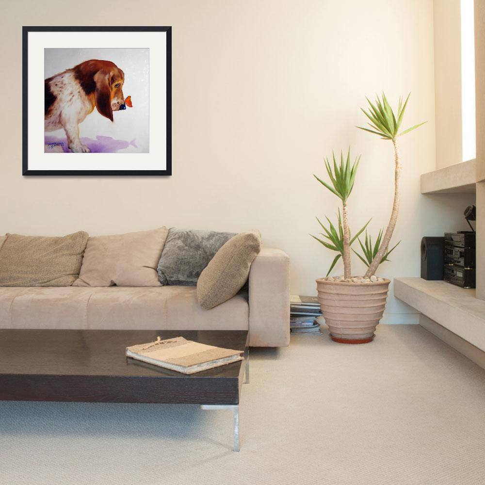 """BASSET & BUTTERFLY&quot  (2008) by MBaldwinFineArt2006"