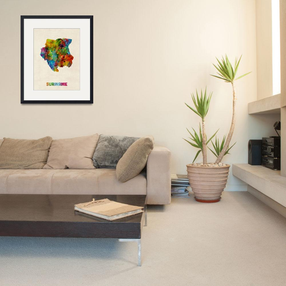 """Suriname Watercolor Map&quot  (2014) by ModernArtPrints"