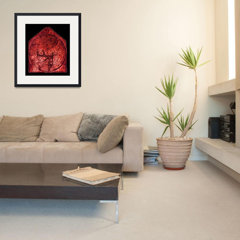 """Hereford Mappa Mundi Red Tint Small Black Border&quot  (2014) by TheNorthernTerritory"