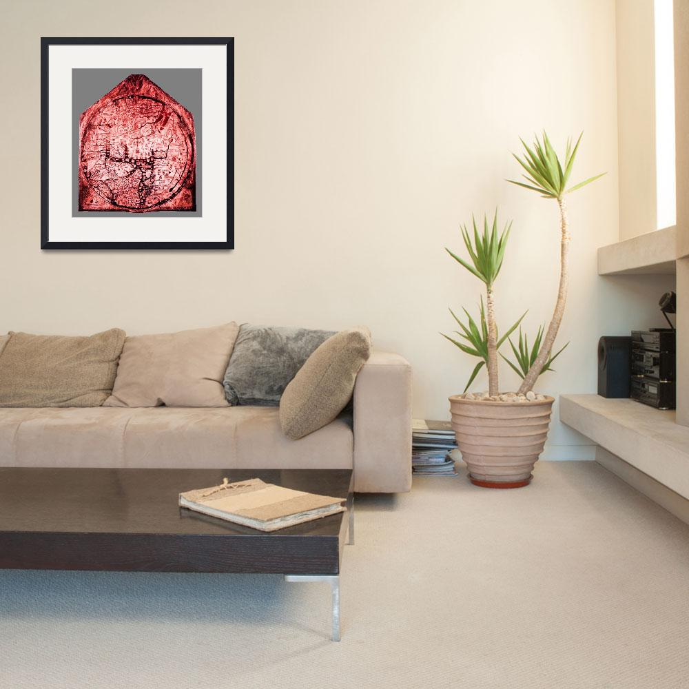 """Hereford Mappa Mundi  Red Tint Small Grey Border&quot  (2014) by TheNorthernTerritory"