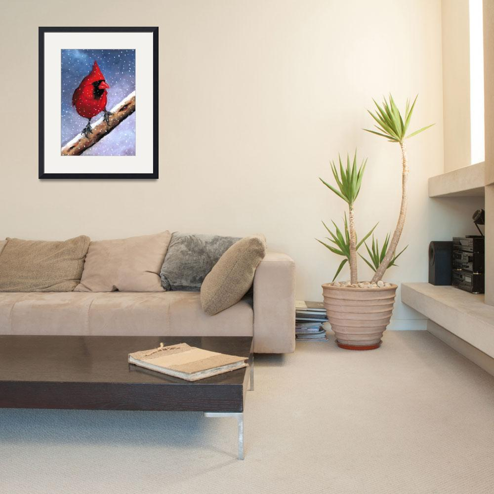 """Bright Red Cardinal in Snow&quot  (2010) by joyart"