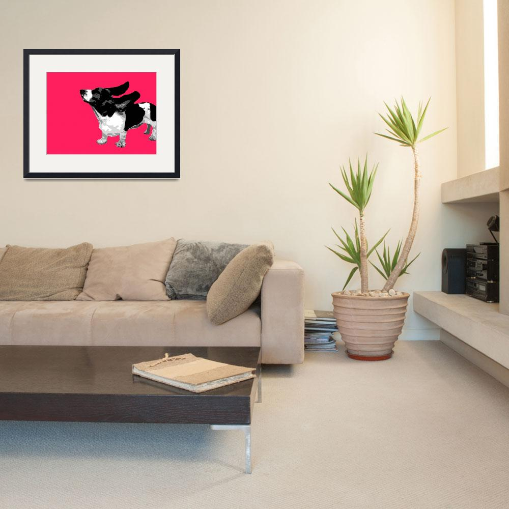 """Basset Pink Pop&quot  (2010) by whitewallgallery"