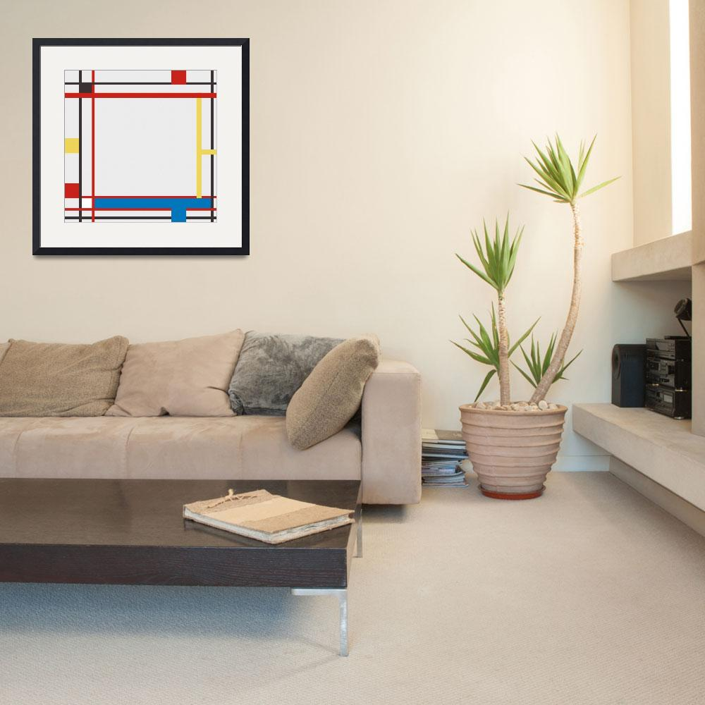 """ABSTRACT COMPOSITION 06 Piet Mondrian Style v2&quot  by motionage"