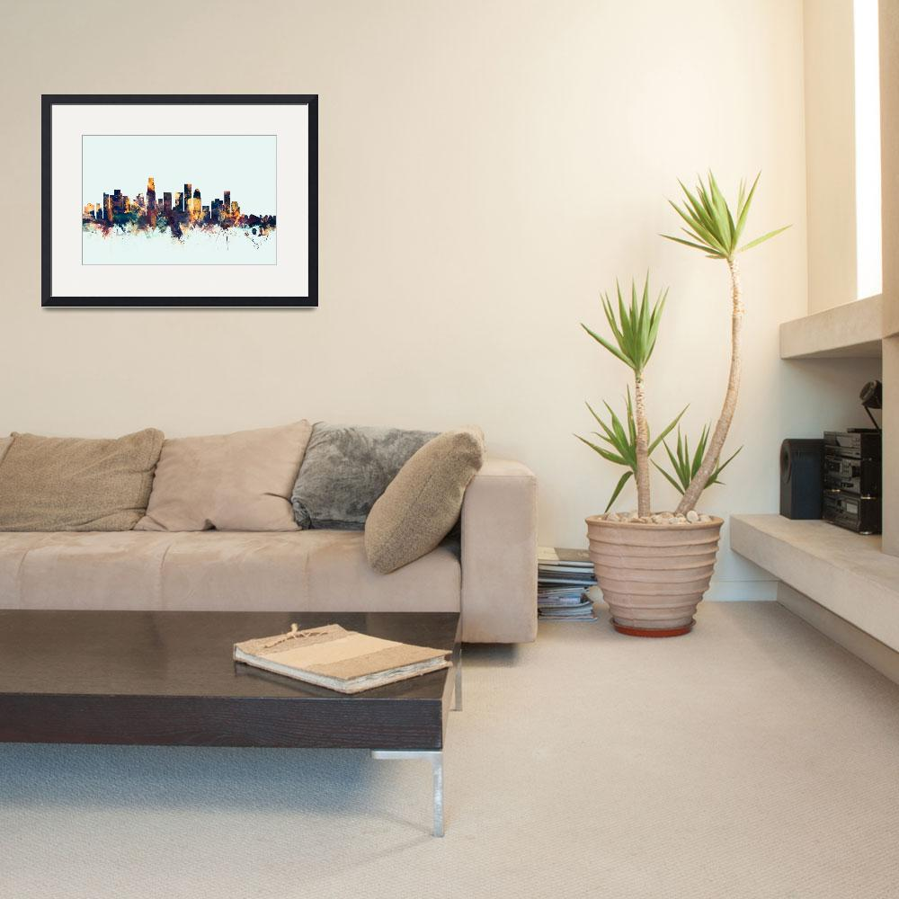 """Los Angeles California Skyline&quot  (2015) by ModernArtPrints"