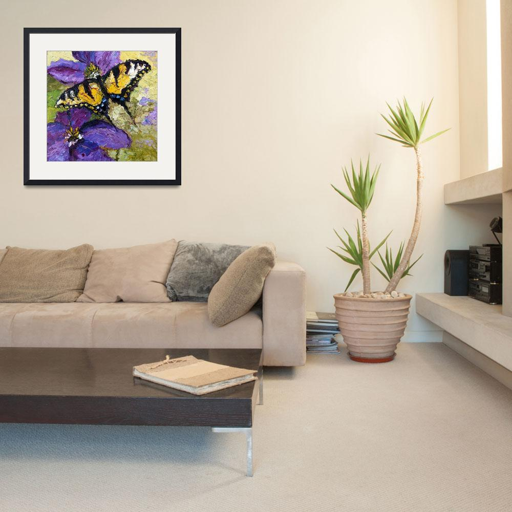 """Swallow Tail on Purple Flower Oil Painting&quot  (2011) by GinetteCallaway"