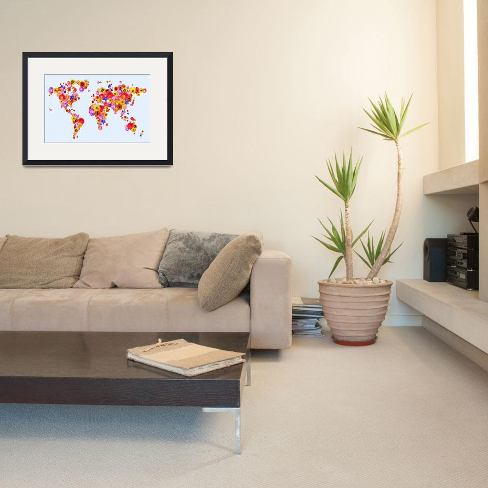"""Flower World Map&quot  (2011) by ModernArtPrints"