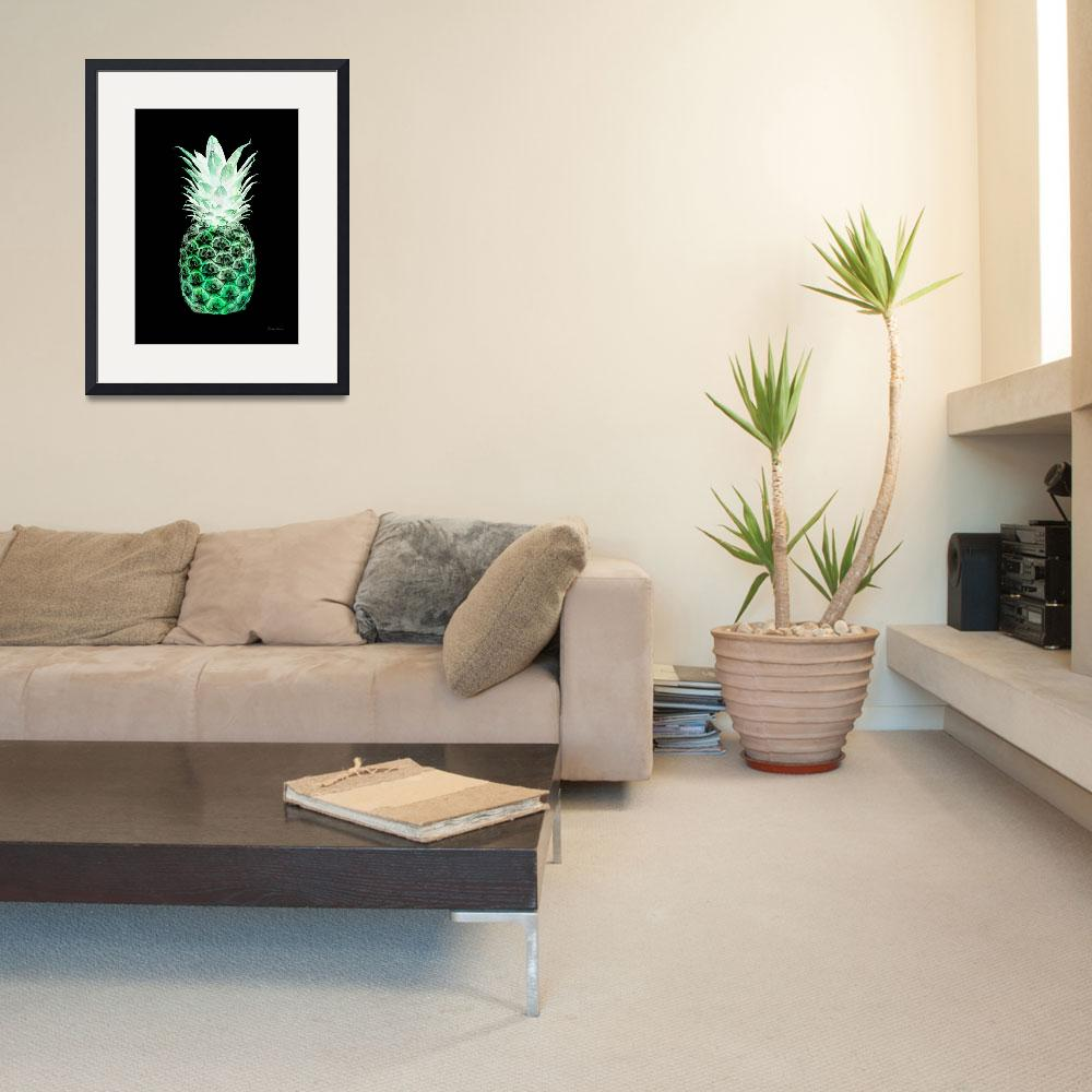 """14K Artistic Glowing Pineapple Digital Art Green&quot  (2016) by Ricardos"