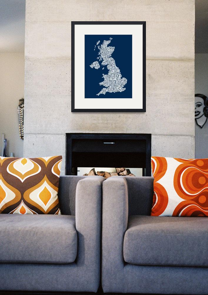 """Great Britain UK City Text Map&quot  (2013) by ModernArtPrints"