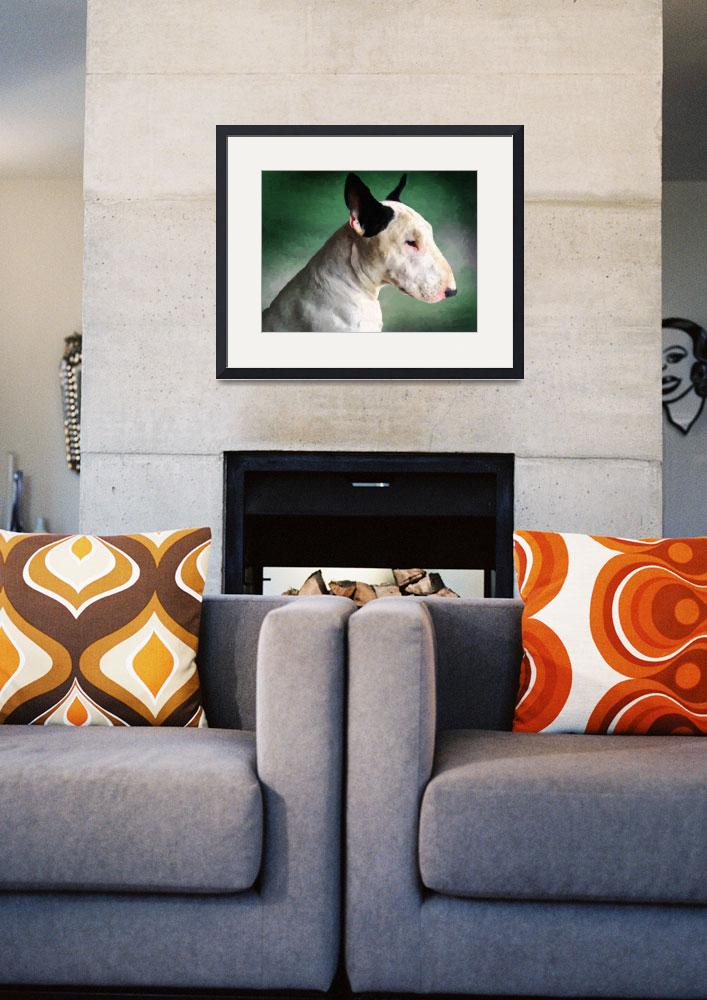 """Bull Terrier on Green&quot  (2009) by ModernArtPrints"