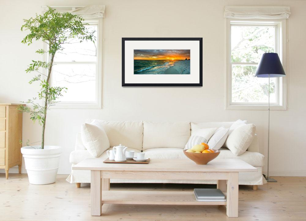 """panoramic orange sunset art print&quot  (2014) by eszra"