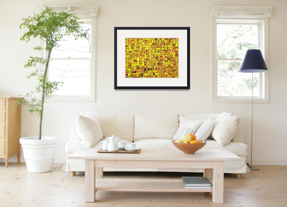 """Balinese Glass Tile Art - Yellow&quot  (2011) by Markomarko"