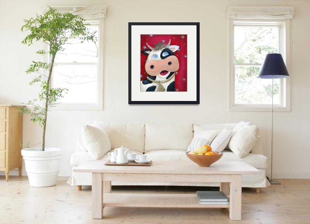 """Cow with Red Background&quot  (2010) by jjweststudio"