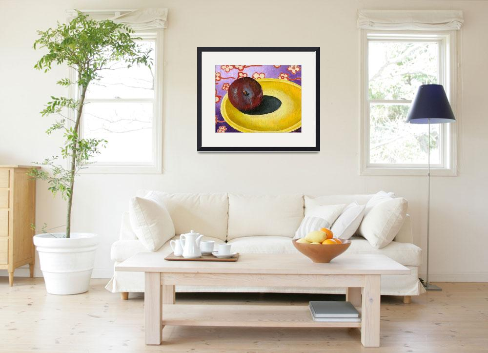 """Plum on Yellow Plate&quot  (2007) by AbbyCreekStudios"