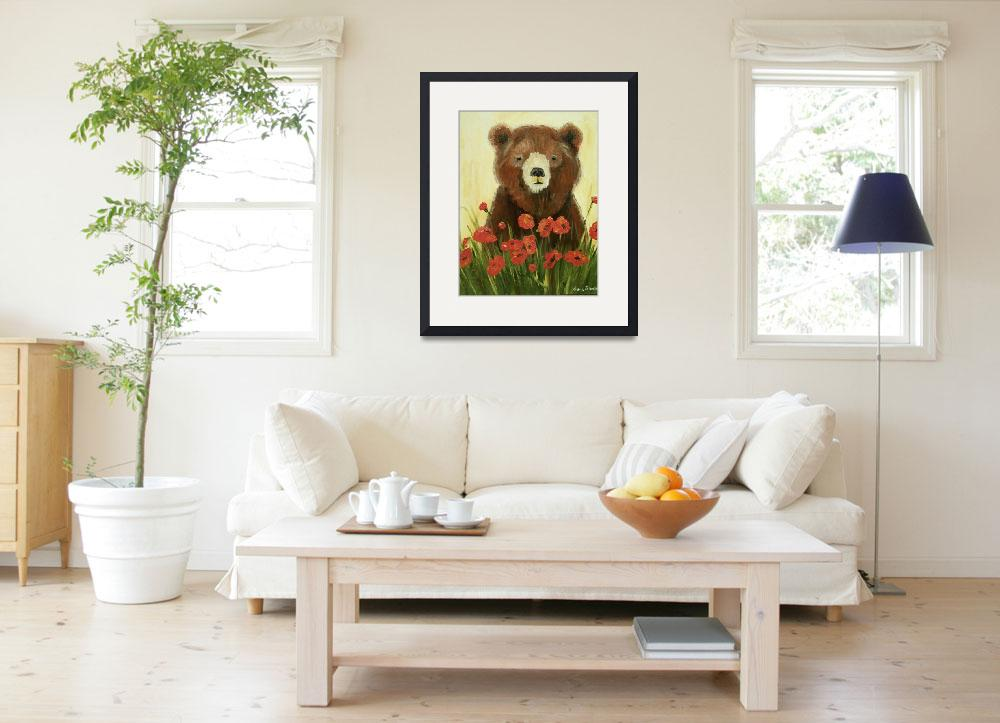 """Bear In Poppies&quot  (2010) by rebeccamudd"