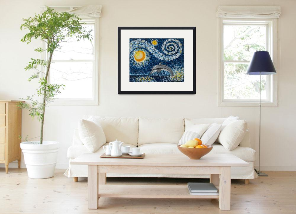 """Starry Night Dolphin&quot  (2015) by waynecantrell"