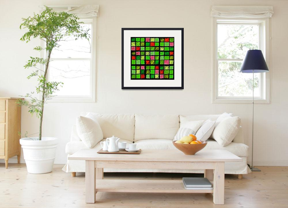 """Sudoku Abstract Green Red&quot  (2012) by KsWorldArt"